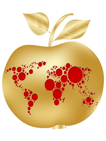 golden apple: golden apple with world map Illustration