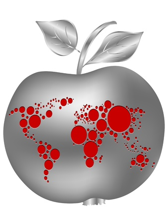 silver apple with world map  Vector