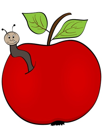 apple with worm  Vector