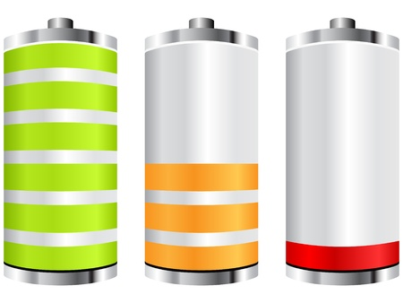 battery charging: battery icons