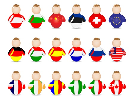buddy with coutries flags Stock Vector - 10288380