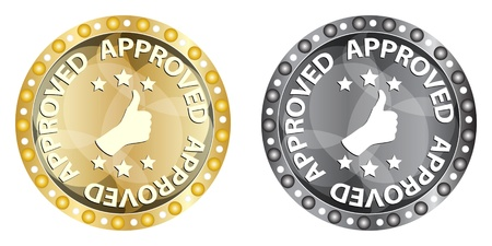 accomplish: approved label  Illustration