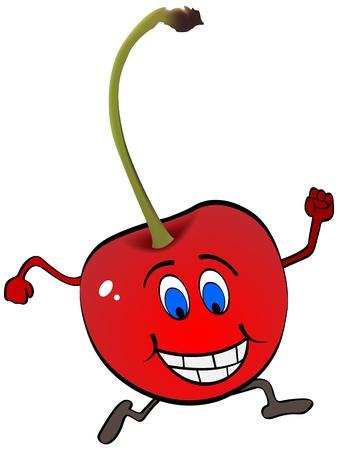 happy running cherry Vector