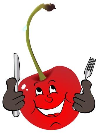 children eating fruit: red cherry