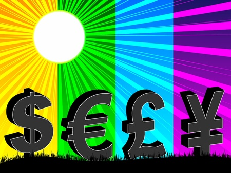 deflated: curency background Illustration