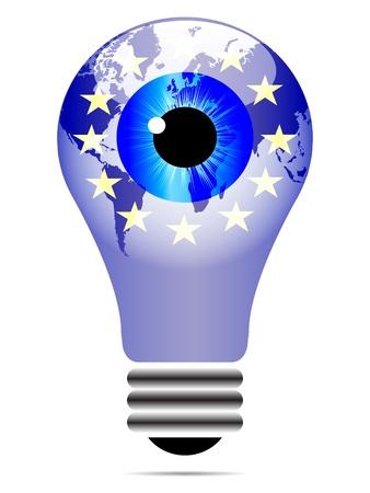 eu: light bulb with eu flag