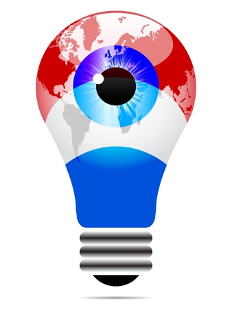 tungsten: light bulb with luxembourg flag  Illustration