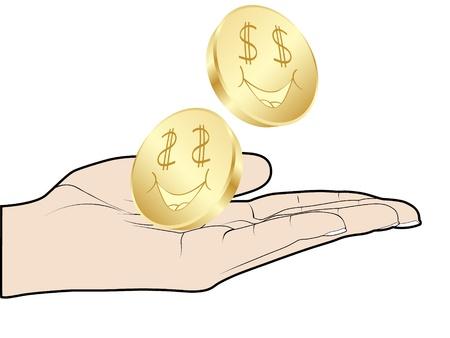hand offer a dollar  Vector