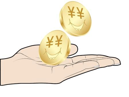 human hand offer golden coins Vector