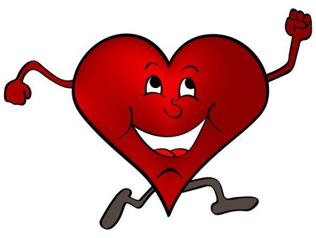 hartje cartoon: gelukkig rood hart Stock Illustratie