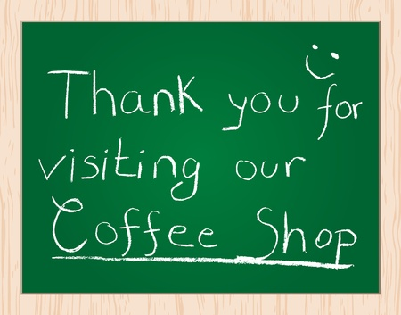 transmit: thank you for visiting our coffee shop Illustration