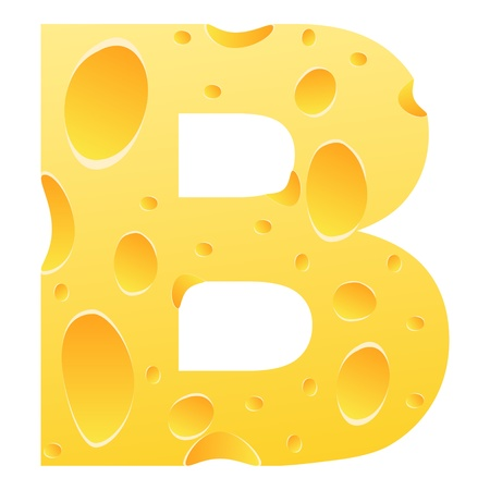 parmesan cheese: letter b made of cheese