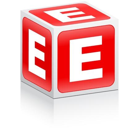 red cube: lettera e