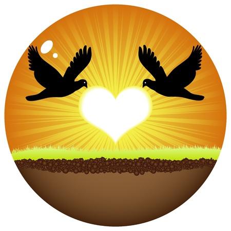 flying kiss: doves in love