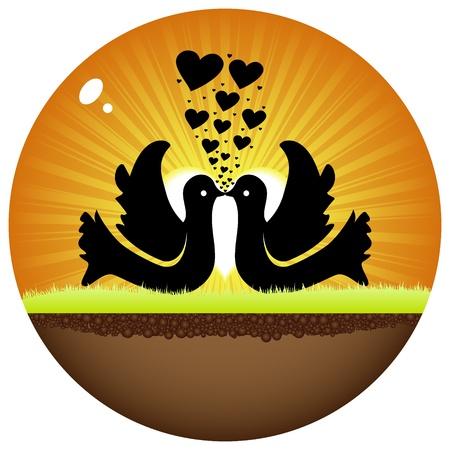 doves in love Stock Vector - 10288364