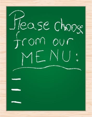 menu on blackboard Vector
