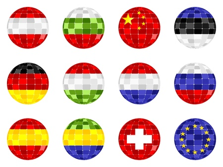 different flags on balls Vector