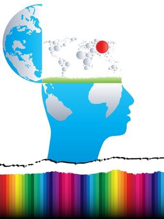 mente abierta, con el mapa del mundo