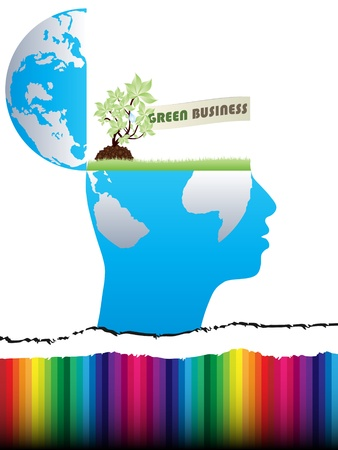 open mind design with green business Vector