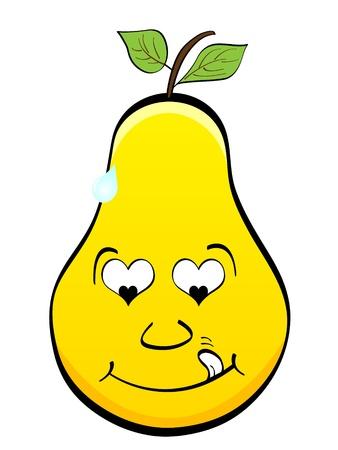 children eating fruit: pear in love