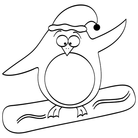 penguin on surfing board Vector