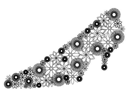 shoe made of flowers Illustration