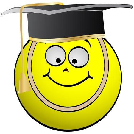 graduacion caricatura: graduaci�n de pelota de tenis Vectores
