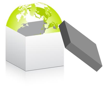 deliver: open box with world globe inside Illustration
