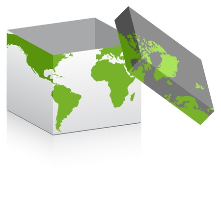 opne box with map on it Vector