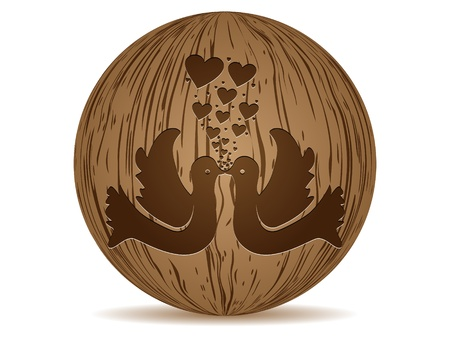 wooden ball with two dove Vector