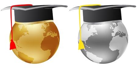 graduados: graduaci�n de globo mundial met�lico Vectores