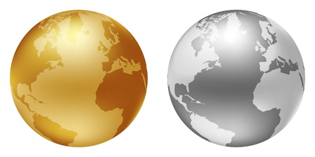 golden globe: world globe silver and golden color
