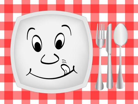 table cloth: Dinner setting  Illustration