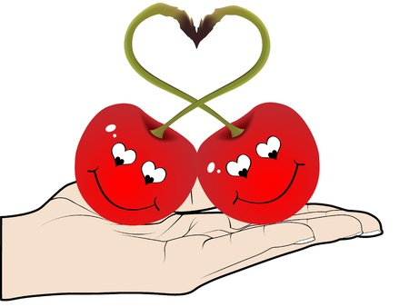 sentimental: Two red cherries in love