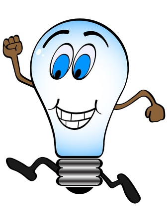 cartoon light bulb: happy lightbulb