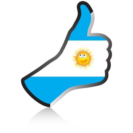 argentinian flag: argentinian hand giving ok  Illustration