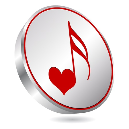 valentine musical note: song of love button