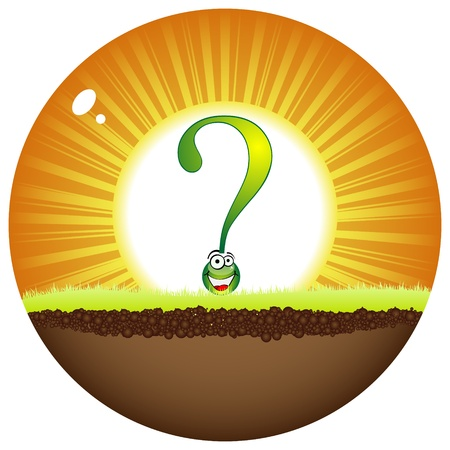 sunshine label with question mark Stock Vector - 10451250