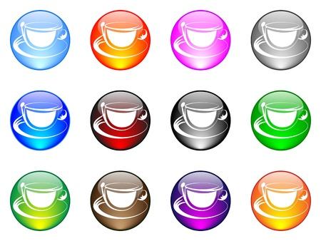 coffee cup button Stock Vector - 10451564