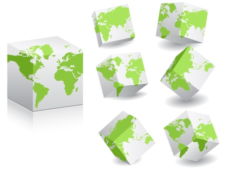 world map on white boxes Vector