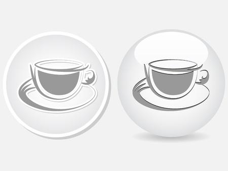 coffee cup button Stock Vector - 10450719