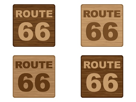 66: route 66 on wooden banner  Illustration