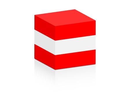 austrian flag: austrian flag on box