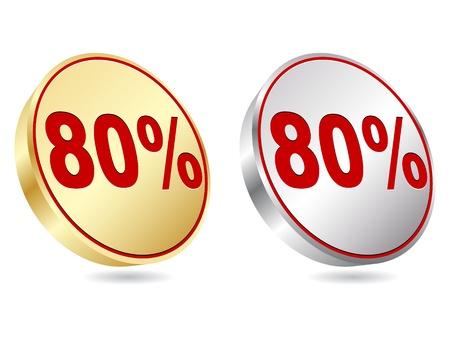 ochenta: ochenta por ciento de descuento icono Vectores