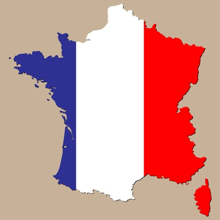 french flag: map of france