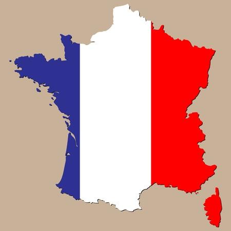 bandera francia: mapa de Francia Vectores