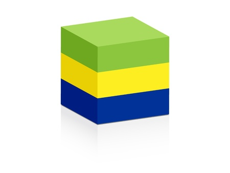 gabon:  gabon  flag on box  Illustration