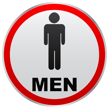 toilette: men toilet label Illustration