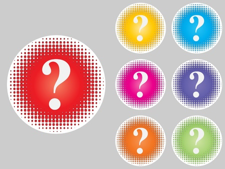 question buttons different colors Stock Vector - 10471657