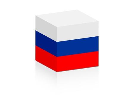 russian flag: russian flag on box  Illustration